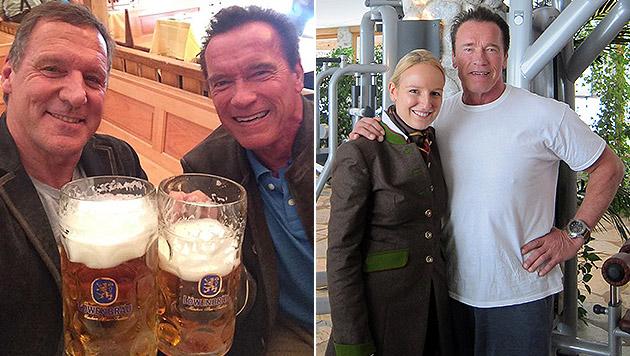"""Arnold Schwarzenegger mit Ralf Möller auf der Wiesn und Maria Hauser beim """"Stanglwirt"""". (Bild: facebook.com/RalfMoeller, Stanglwirt)"""