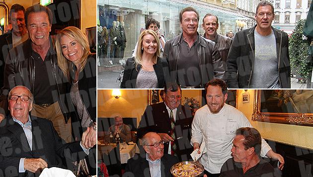 """Arnold Schwarzenegger traf seinen """"Ziehvater"""" (Bild: Christian Jauschowetz, krone.at-Grafik)"""