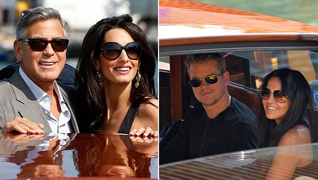 Geroge Clooney und Amal Alamuddin sind ebenso schon in Venedig wie Matt Damon und seine Luciana. (Bild: AP)