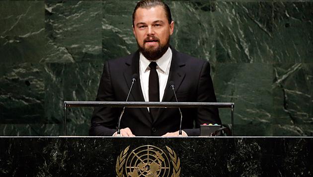 Umweltschützer Leonardo DiCaprio hielt eine Rede auf dem UN-Klimagipfel in New York. (Bild: AP)