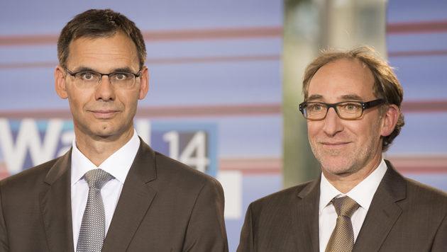 VP-Landes-Chef Markus Wallner (li.) will Koalitionsgespräche mit Johannes Rauch (Grüne) führen. (Bild: APA/DIETMAR STIPLOVSEK)