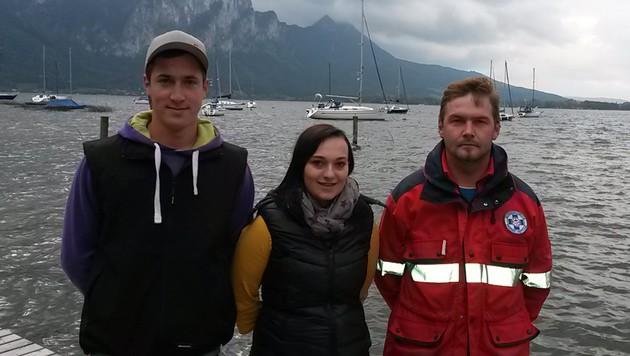 Die Helfer: Herber Meindl, Astrid Putz und ihr Freund Matthias Rindberger (Bild: Wasserrettung Loibichl)