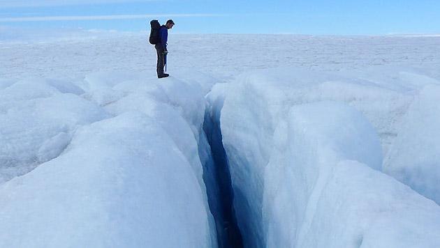 Spalte in Grönland-Gletscher (Bild: Poul Christoffersen, University of Cambridge)