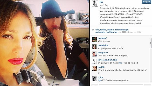 """Ein Betrunkener ist in Jennifer Lopez"""" Auto gekracht. (Bild: instagram.com/jlo)"""