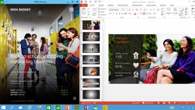 Apps aus dem Windows Store laufen jetzt auch im Fenster, nicht mehr nur im Vollbild. (Bild: Microsoft)