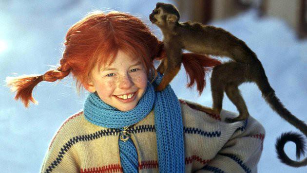 """Astrid Lindgrens """"Pippi Langstrumpf"""" mit ihrem Äffchen """"Herr Nilsson"""" (Bild: EPA)"""