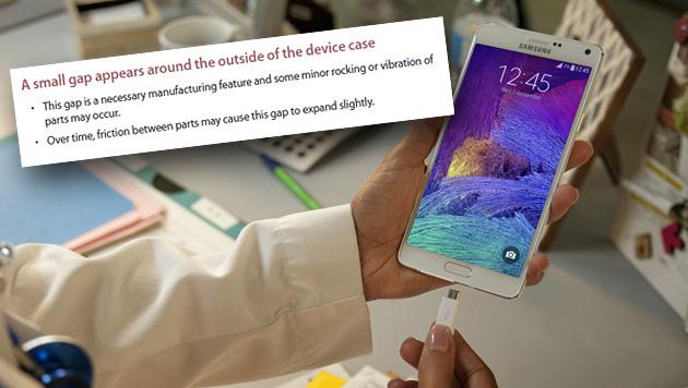 Beschwerden über Spalt bei Samsungs Galaxy Note 4 (Bild: Samsung, krone.at-Grafik)