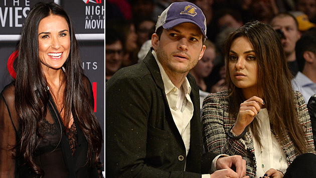 Demi Moore sichert Mila Kunis und Ashton Kutcher ihre Hilfe zu. (Bild: AP, APA/EPA/MICHAEL NELSON)