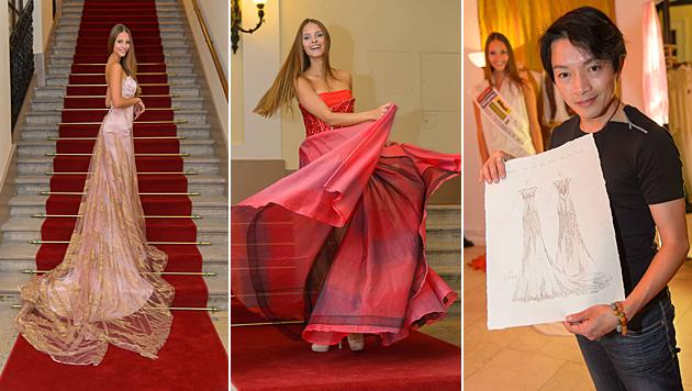 """Designer La Hong entwirft das Kleid für """"Miss"""" Julia Furdea. (Bild: ViennaPress/Andreas Tischler)"""