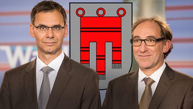 Landeshauptmann Wallner und Grünen-Chef Rauch (Bild: APA/DIETMAR STIPLOVSEK)