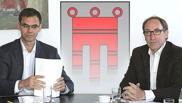 Vorarlberg: ÖVP und Grüne segnen Koalitionspakt ab (Bild: APA/DIETMAR STIPLOVSEK, krone.at-Grafik)