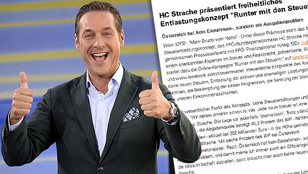 """Straches Steuer-Lapsus: """"Mehr Brutto vom Netto"""" (Bild: APA/HANS KLAUS TECHT, ots.at, krone.at-Grafik)"""