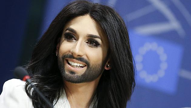 In Brüssel setzte sich Conchita für mehr Toleranz ein. (Bild: AP)