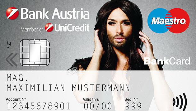 Conchitas Konterfei ziert die neue Bank-Austria-Bank-Card. (Bild: Bank Austria)