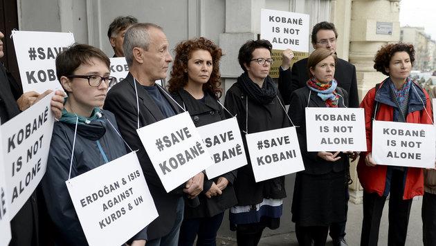 Türkische Nationalratsabgeordnete vor der türkischen Botschaft (Bild: APA/ROLAND SCHLAGER)