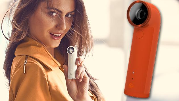 """""""RE Camera"""": HTC steigt ins Actioncam-Geschäft ein (Bild: HTC, krone.at-Grafik)"""