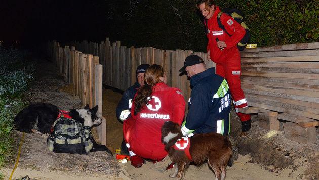 """Die Rettungshündin """"Lynn"""" entdeckte die betagte Frau in einer Baugrube. (Bild: Lukas Derkits/Pressestelle BFK Mödling)"""
