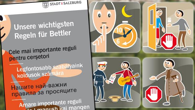 Stadt Salzburg: Verhaltenskodex für Bettler (Bild: Stadt Salzburg, krone.at-Grafik)