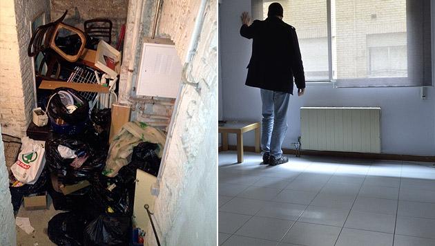 Die Habe des Mieters landete zusammen mit den zerlegten Möbeln im Keller des Hauses (li.). (Bild: Privat, thinkstockphotos.de (Symbolbild))