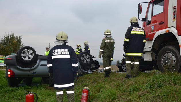 Der Wagen des Deutschen wurde in eine Wiese geschleudert. (Bild: APA/BFKDO SCHÄRDING)