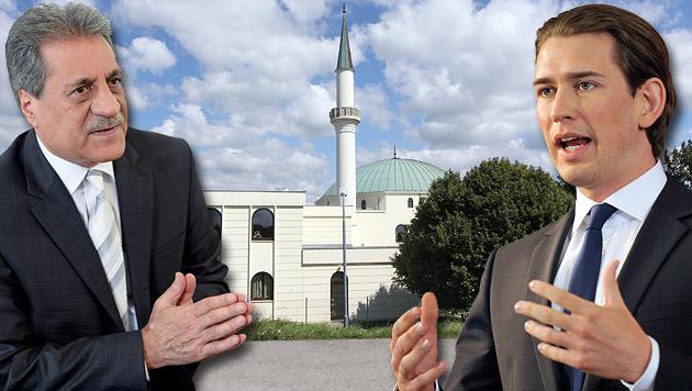 Fuat Sanac, Präsident der Islamischen Glaubensgemeinschaft, und Außenminister Sebastian Kurz (Bild: APA/HERBERT NEUBAUER, Peter Tomschi, APA/HANS PUNZ)