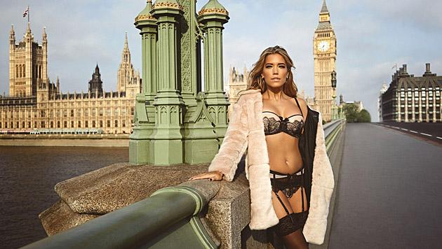 Die neue Hunkemöller-Kampagne führte Sylvie Meis in die britische Hauptstadt. (Bild: Hunkemöller)