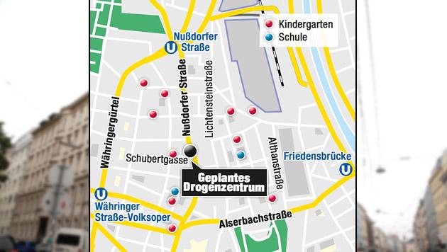 """Wiener Drogenzentrum: NEOS unterstützen Anrainer (Bild: Zwefo, """"Krone""""-Grafik)"""