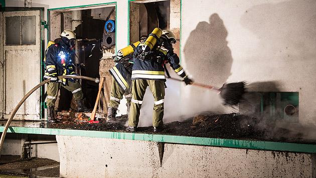Flammen schlugen meterhoch aus Lagerhaus in NÖ (Bild: BFFKDO Hollabrunn)