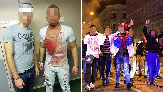 """Ausnahmezustand zwischen Albanern und Serben in Wien-Ottakring wegen eines Fußballspiels (Bild: """"Krone"""", APA/HELENA MANHARTSBERGER)"""