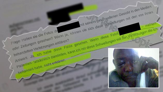 """AKH-Medizinerin konnte sich Schwellungen im Gesicht von Bakary J. """"nicht erklären"""". (Bild: """"Krone"""", APA/Privat)"""