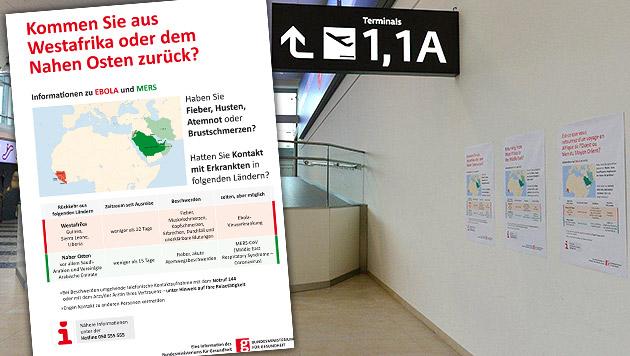 500 Ebola-Warnplakate auf Airports und Bahnhöfen (Bild: Austrianwings, BMG)