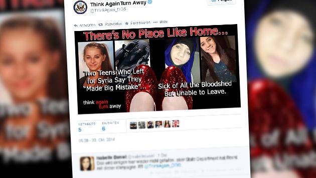 US-Propaganda setzt auf Wiener Dschihad-Mädchen (Bild: twitter.com/ThinkAgain_DOS)