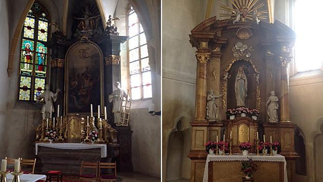 Die Kirchenräuber ließen sogar die wertvolle Mutter-Gottes-Statue (re. Bild) mitgehen. (Bild: Josef Renz)