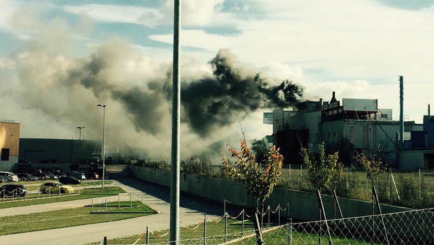 """Eine gewaltige Rauchsäule stieg von der Müllverbrennungsanlage auf. (Bild: """"Krone""""-Leserreporter Christoph Pfaffl)"""