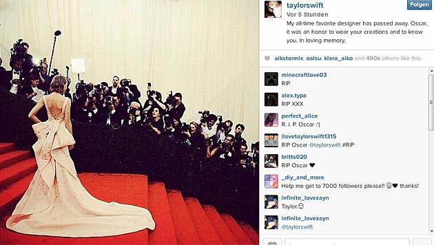 Taylor Swift verabschiedete sich mit diesem Bild von Oscar de la Renta. (Bild: instagram.com/taylorswift)