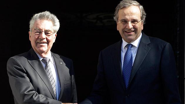 Heinz Fischer mit Antonis Samaras (Bild: APA/EPA/ORESTIS PANAGIOTOU)