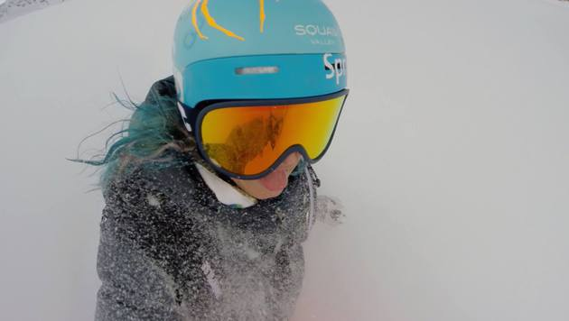 """Julia Mancuso freut sich über den Wintereinbruch in Sölden: """"Just in time for the races"""" (Bild: facebook.com/Julia Mancuso)"""