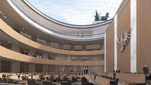 Der neue Plenarsaal (Bild: APA/JABORNEGG & PALLFY_AXIS)