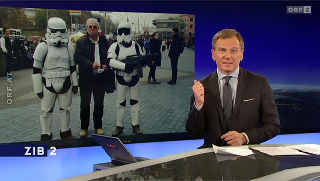 'ZiB 2': 'Diese beiden Herren sind bekanntermaßen 'Stormtroopers' ... (Bild: tvthek.orf.at)