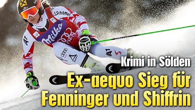 Ex-aequo-Sieg f�r Fenninger und Shiffrin (Bild: APA/EPA/JEAN-CHRISTOPHE BOTT)