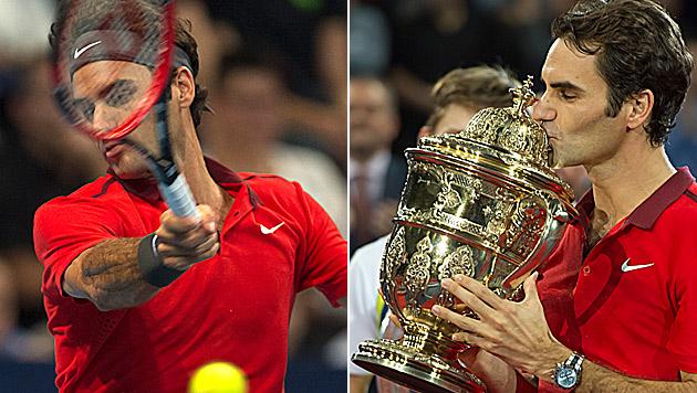 Federer holt seinen bereits 6. Basel-Titel (Bild: AP)