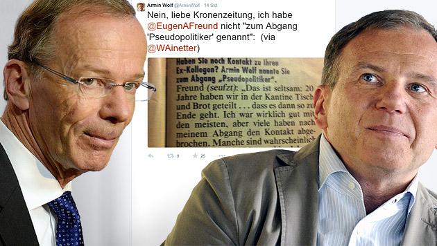 """""""Krieg"""" der ORF-Stars Eugen Freund und Armin Wolf (Bild: APA/EPA/ROLAND SCHLAGER, twitter.com, krone.at-Grafik)"""