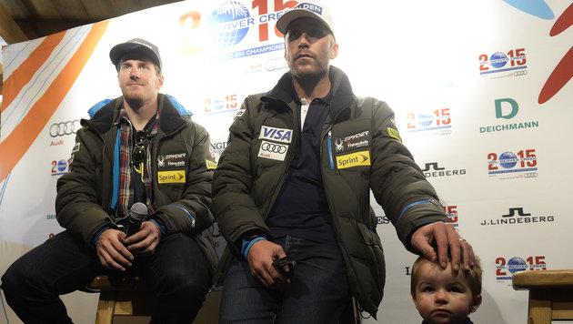 Bode Miller mit Sohn Nate und Ted Ligety in Sölden (Bild: APA/ROBERT JAEGER)