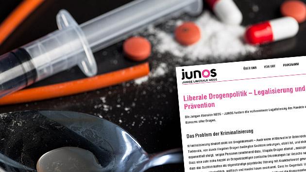Junge NEOS wollen auch Kokain, LSD & Co. freigeben (Bild: thinkstockphotos.de, junos.at)