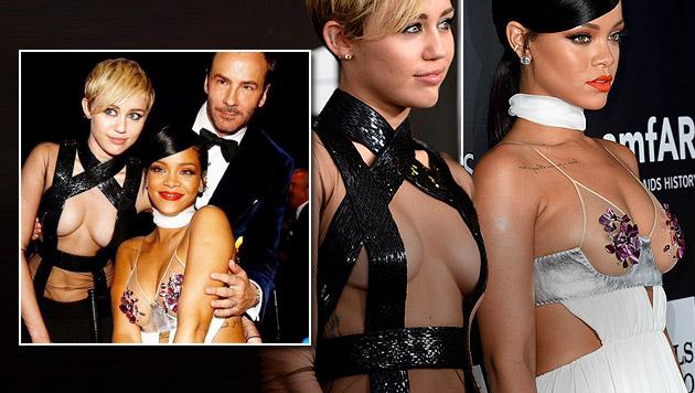 Miley & Rihanna lieferten sich Fast-nackt-Duell (Bild: AFP, instagram.com)