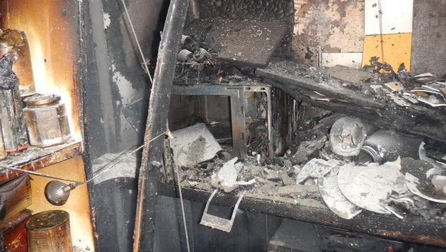 Das Feuer war in der Küche des Einfamilienhauses ausgebrochen. (Bild: MA 68)