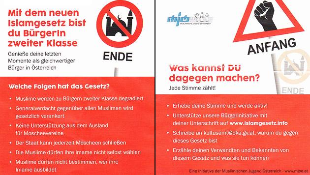 """Die neuen Plakate der """"Muslimischen Jugend"""" sorgen für Diskussionen. (Bild: MJOE)"""