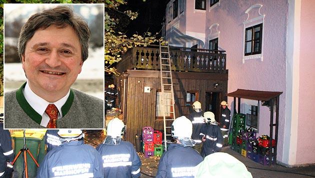 Bürgermeister Franz Eder (kl. Bild) rettete einer Familie das Leben. (Bild: Niki Faistauer)