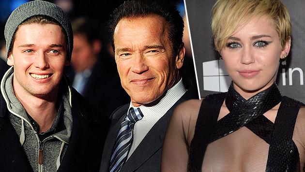 Patrick Schwarzenegger, Arnold Schwarzenegger und Miley Cyrus (Bild: AFP, FACUNDO ARRIZABALAGA/EPA/picturedesk.com)