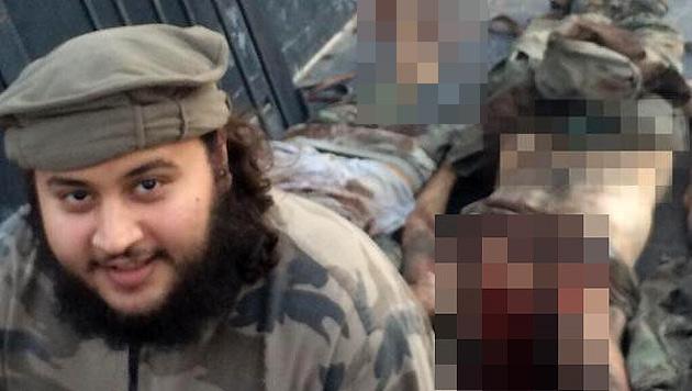 Mohammed M. posiert vor mehreren Leichen. Das Bild soll in Rakka entstanden sein. (Bild: www.siteintelgroup.com)